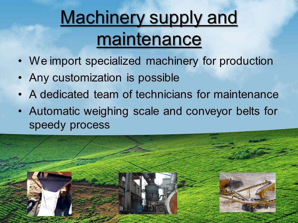 Machinery supply and maintenance We import specialized machinery for production Any customization is possible A dedicated team of technicians for maintenance Automatic weighing scale and conveyor belts for speedy process