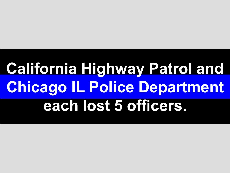 California Highway Patrol and Chicago IL Police Department each lost 5 officers.