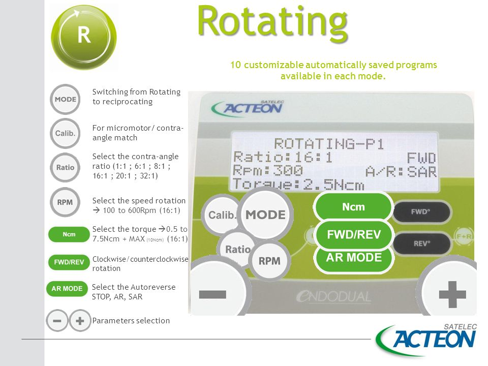 Rotating 10 customizable automatically saved programs available in each mode. Switching from Rotating to reciprocating For micromotor/ contra- angle m
