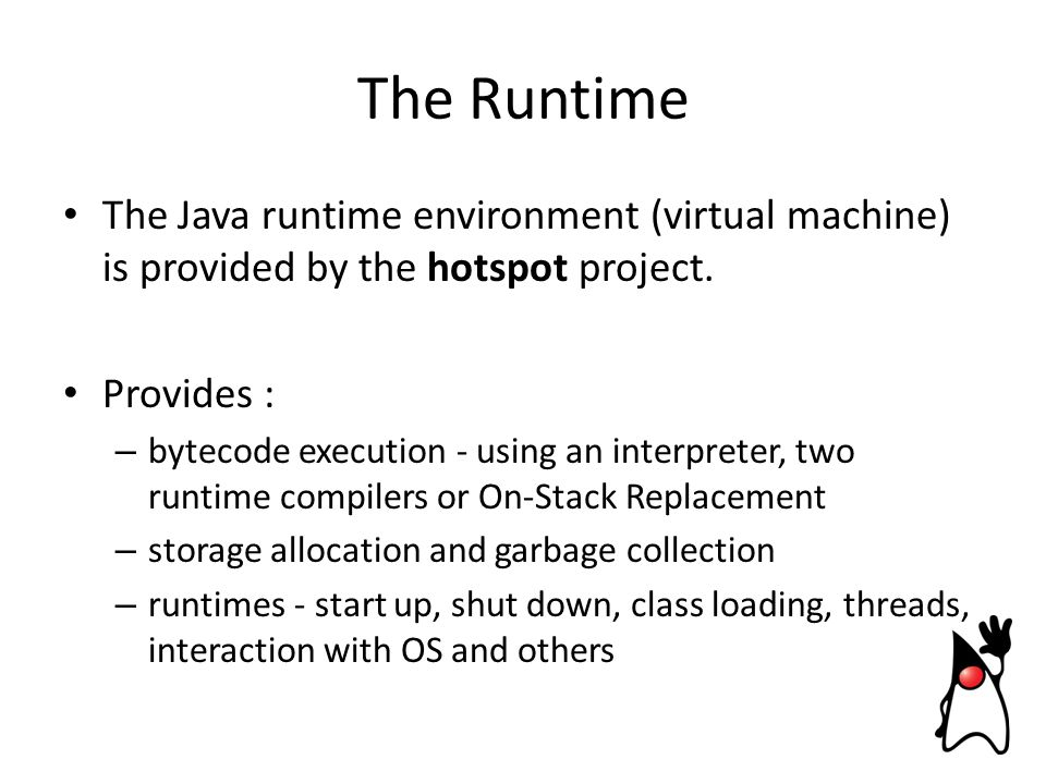 The Java runtime environment (virtual machine) is provided by the hotspot project.
