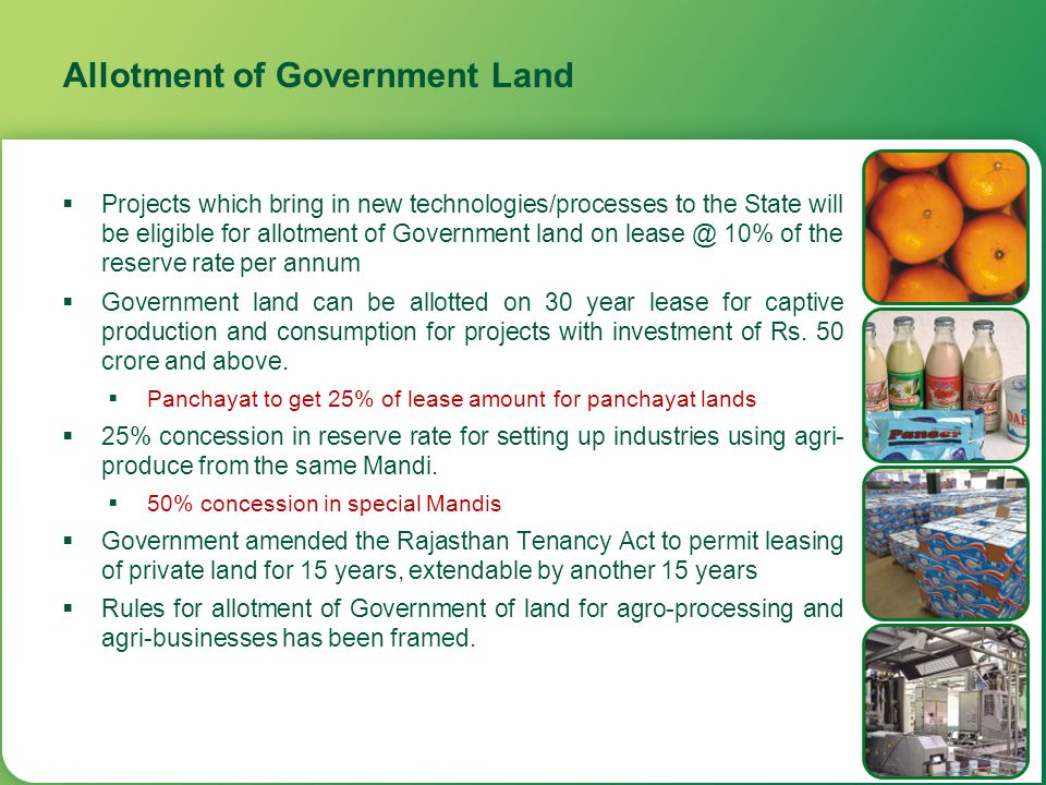 Human Resource Development  Government to allot up to 5 acres of land at institutional reserve rate in urban areas and up to 10 acres of land at the district level committee rates in rural areas for setting up academic and training institutions More land can be allotted in case regulatory norms require more land with such institutions  Assistance @ Rs.
