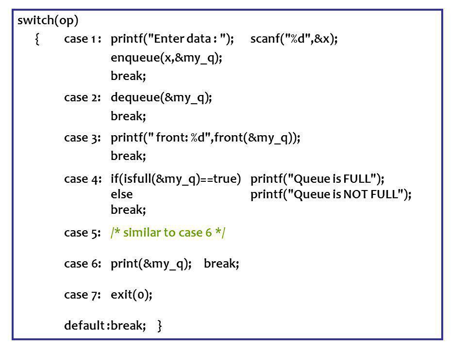 Senem Kumova Metin Spring2009 switch(op) {case 1 :printf( Enter data : ); scanf( %d ,&x); enqueue(x,&my_q); break; case 2:dequeue(&my_q); break; case 3:printf( front: %d ,front(&my_q)); break; case 4:if(isfull(&my_q)==true) printf( Queue is FULL ); else printf( Queue is NOT FULL ); break; case 5:/* similar to case 6 */ case 6:print(&my_q); break; case 7:exit(0); default :break;}