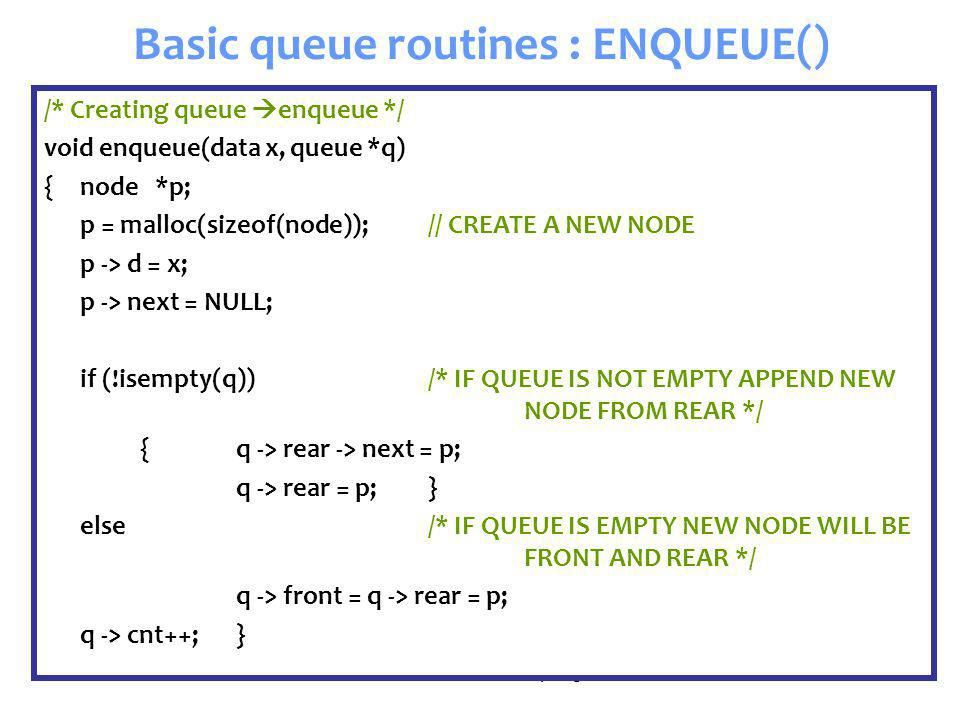 Senem Kumova Metin Spring2009 Basic queue routines : ENQUEUE() /* Creating queue  enqueue */ void enqueue(data x, queue *q) {node *p; p = malloc(size