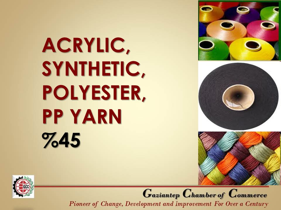 ACRYLIC, SYNTHETIC, POLYESTER, PP YARN %45