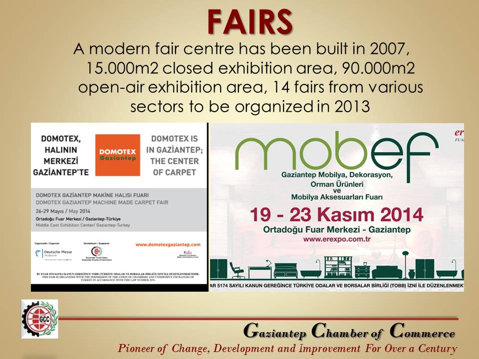 FAIRS A modern fair centre has been built in 2007, 15.000m2 closed exhibition area, 90.000m2 open-air exhibition area, 14 fairs from various sectors to be organized in 2013