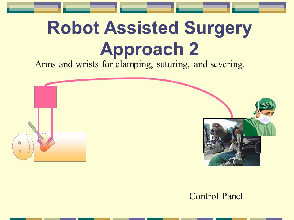 Robot Assisted Surgery Approach 2 Arms and wrists for clamping, suturing, and severing.
