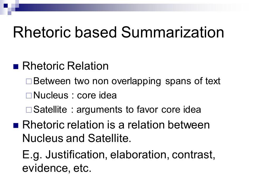 Rhetoric based Summarization Rhetoric Relation  Between two non overlapping spans of text  Nucleus : core idea  Satellite : arguments to favor core