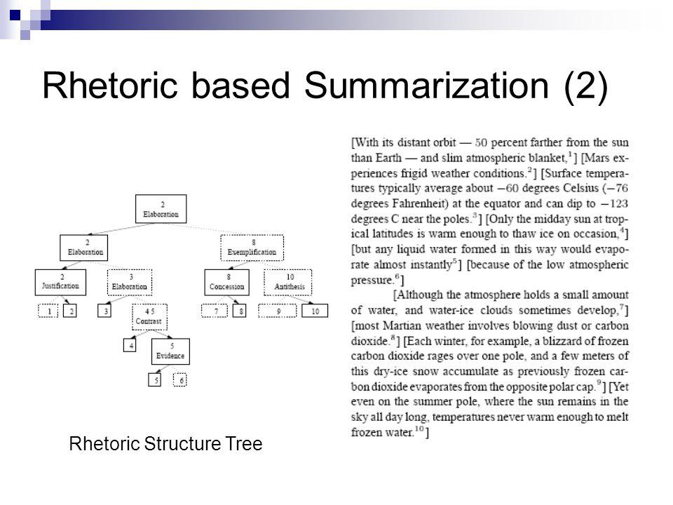 Rhetoric based Summarization (2) Rhetoric Structure Tree