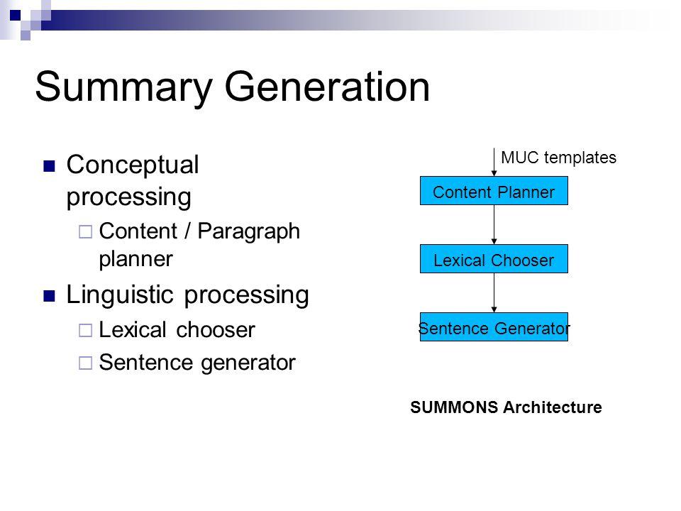 Summary Generation Conceptual processing  Content / Paragraph planner Linguistic processing  Lexical chooser  Sentence generator Content Planner Le