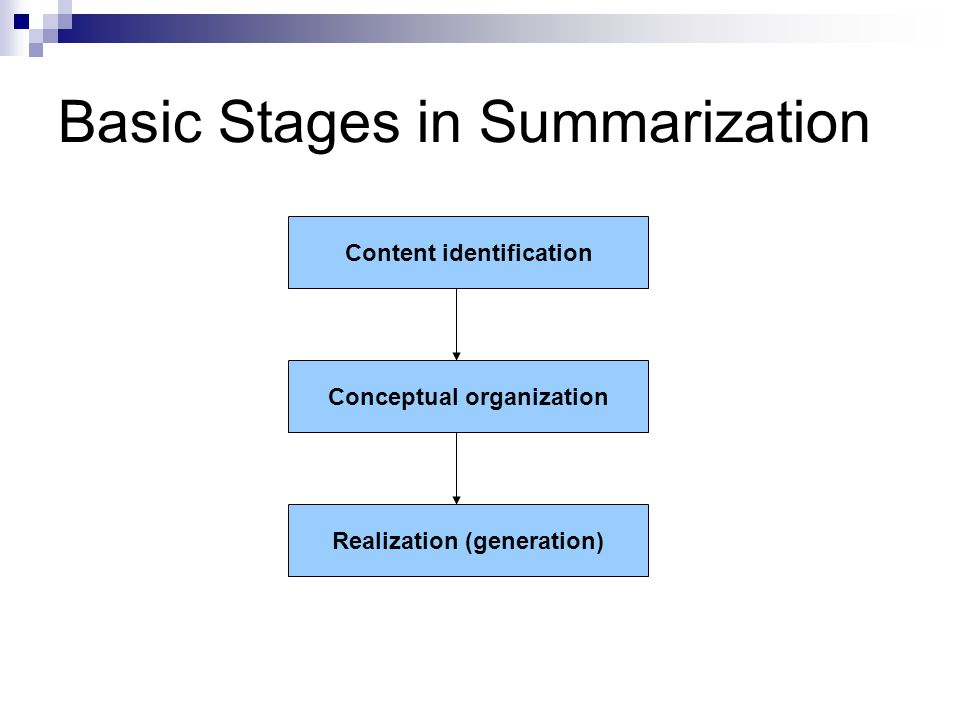 Basic Stages in Summarization Conceptual organization Content identification Realization (generation)