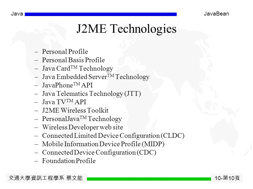 交通大學資訊工程學系 蔡文能 10- 第 9 頁 JavaJavaBean 2-Tier vs 3-Tier Architecture EE448: Server-Side Development