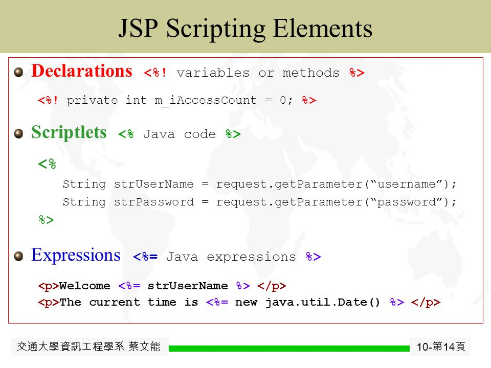 交通大學資訊工程學系 蔡文能 10- 第 13 頁 JavaJavaBean JSP Introduction Basic idea: Turn Code and HTML inside out  Use regular HTML for most of page  Mark servlet code with special tags  Entire JSP page gets translated into a servlet (once), and servlet is what actually gets invoked (for each request) JSP embeds Java or processing tags inside HTML.