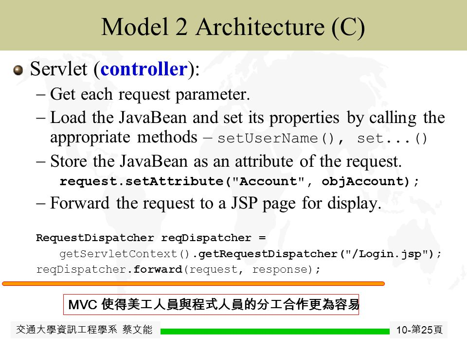 交通大學資訊工程學系 蔡文能 10- 第 24 頁 JavaJavaBean Model 2 Architecture (V) JSP (view):  Get the JavaBean from the request.