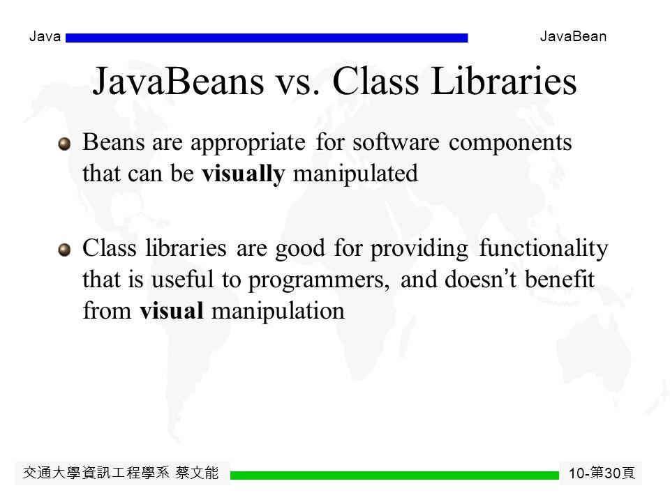 交通大學資訊工程學系 蔡文能 10- 第 29 頁 JavaJavaBean So, What are JavaBeans .