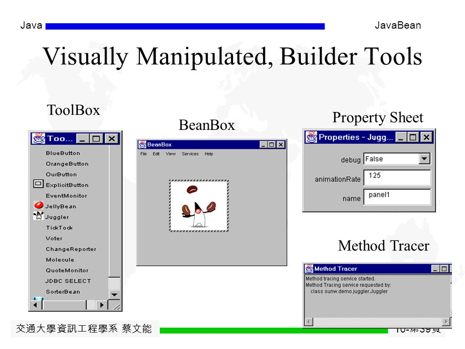 交通大學資訊工程學系 蔡文能 10- 第 38 頁 JavaJavaBean An Example of JSP uses the bean Baked Bean Values: application-based Sharing <jsp:useBean id= applicationBean class= ggyy.HahaBean scope= application /> Bean level: Haha bean now has: