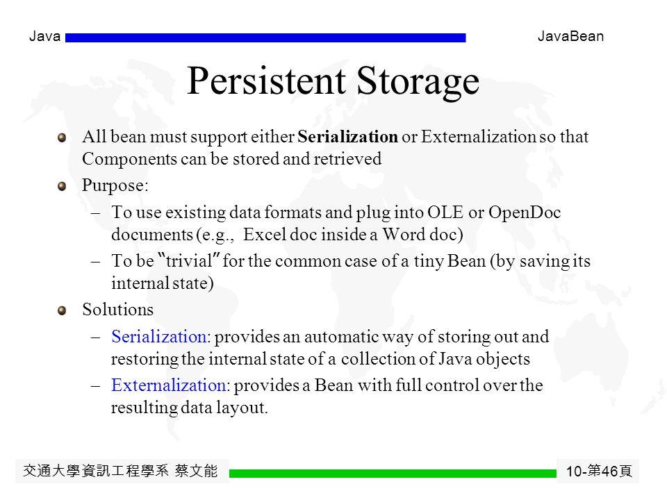 交通大學資訊工程學系 蔡文能 10- 第 45 頁 JavaJavaBean Attaching Events