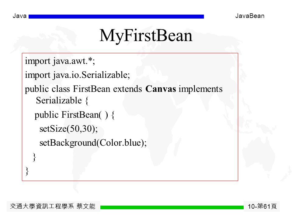 交通大學資訊工程學系 蔡文能 10- 第 60 頁 JavaJavaBean Installing the Bean Beanbox: copy jar file to /jars directory within the BDK directory Different depending on tool used