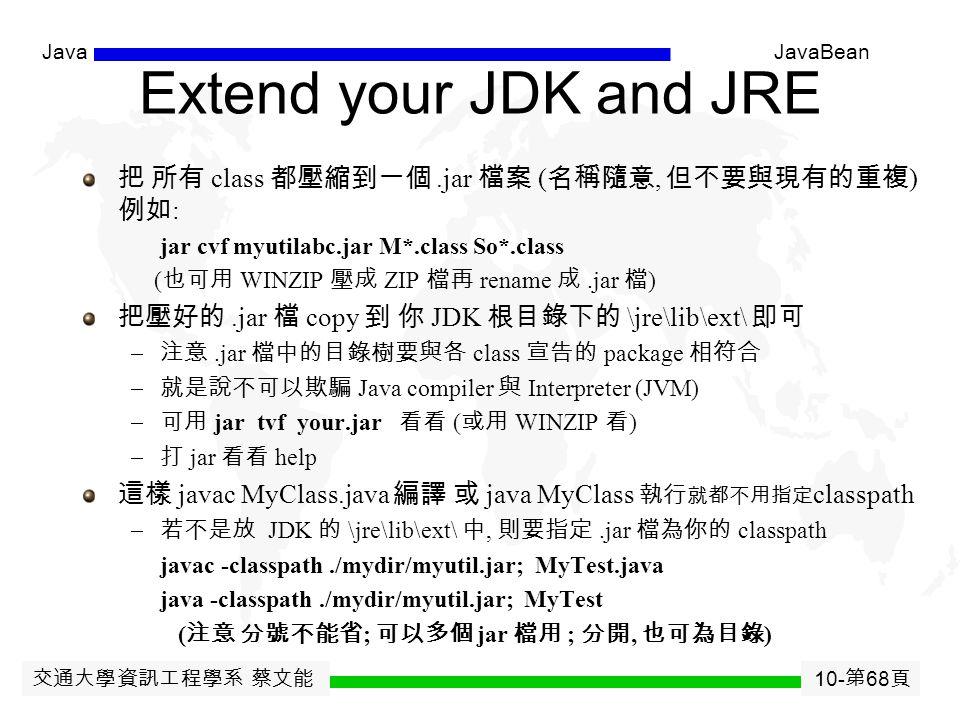 交通大學資訊工程學系 蔡文能 10- 第 67 頁 JavaJavaBean JavaBeans Tools BDK - Sun NetBeans – www.netbeans.org Jbuilder - Inprise Super Mojo - Penumbra Software Visual Age for Java (Eclipse) – IBM Visual Cafe - Symantec Corporation JDeveloper Suite - Oracle