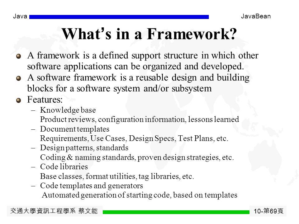 交通大學資訊工程學系 蔡文能 10- 第 68 頁 JavaJavaBean Extend your JDK and JRE 把 所有 class 都壓縮到一個.jar 檔案 ( 名稱隨意, 但不要與現有的重複 ) 例如 : jar cvf myutilabc.jar M*.class So*.class ( 也可用 WINZIP 壓成 ZIP 檔再 rename 成.jar 檔 ) 把壓好的.jar 檔 copy 到 你 JDK 根目錄下的 \jre\lib\ext\ 即可  注意.jar 檔中的目錄樹要與各 class 宣告的 package 相符合  就是說不可以欺騙 Java compiler 與 Interpreter (JVM)  可用 jar tvf your.jar 看看 ( 或用 WINZIP 看 )  打 jar 看看 help 這樣 javac MyClass.java 編譯 或 java MyClass 執行 就都不用指定 classpath  若不是放 JDK 的 \jre\lib\ext\ 中, 則要指定.jar 檔為你的 classpath javac -classpath./mydir/myutil.jar; MyTest.java java -classpath./mydir/myutil.jar; MyTest ( 注意 分號不能省 ; 可以多個 jar 檔用 ; 分開, 也可為目錄 )