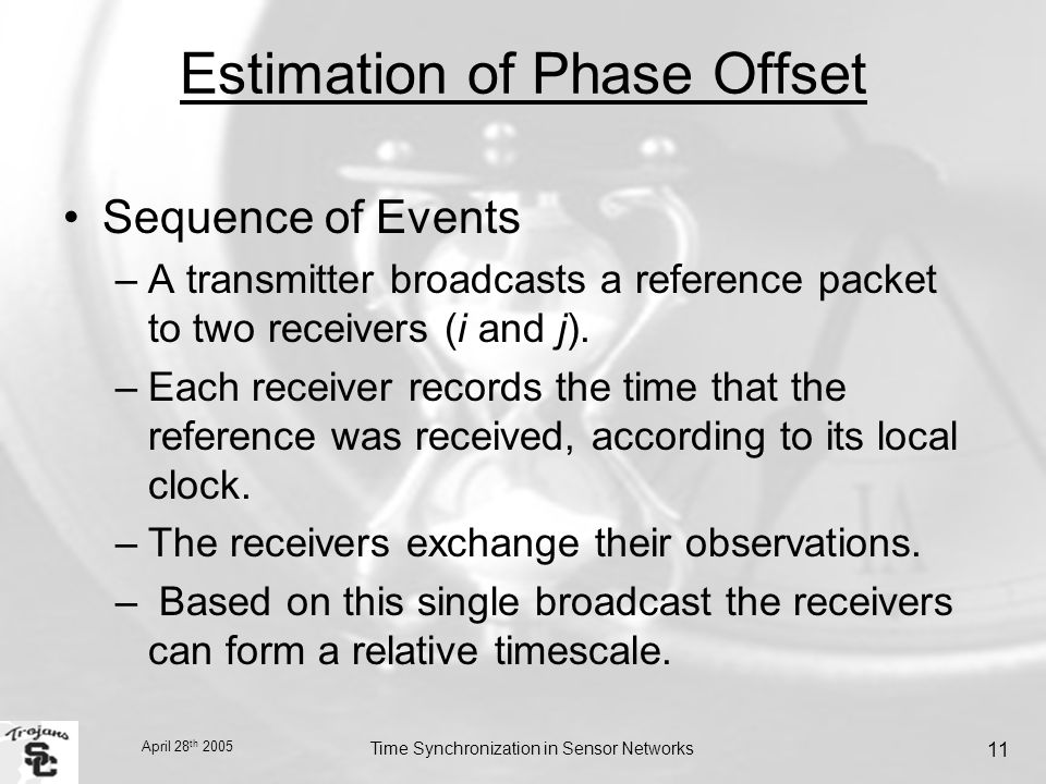 April 28 th 2005 Time Synchronization in Sensor Networks 11 Estimation of Phase Offset Sequence of Events –A transmitter broadcasts a reference packet to two receivers (i and j).
