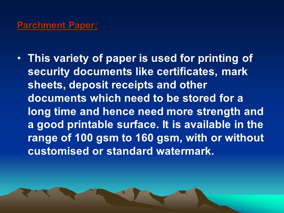 Paper for Bonds, Stamps, Passports and Other Value Documents: We also manufacture paper to suit special confidential requirements and sensitive specifications.