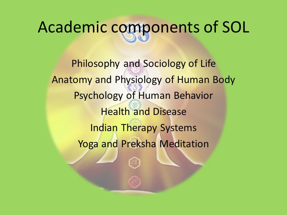Academic components of SOL Philosophy and Sociology of Life Anatomy and Physiology of Human Body Psychology of Human Behavior Health and Disease Indian Therapy Systems Yoga and Preksha Meditation