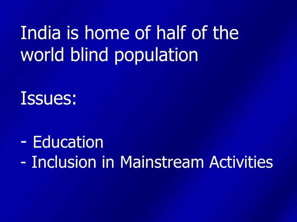 Visual Impairment Scenario TOTAL-106.34 Lakhs (1.03% of Total Population) Urban-27.61 Lakhs Rural-78.73 Lakhs Male : 57.32 Lakhs Female : 49.02 Lakhs Source : Census 2001