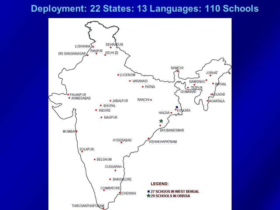 Deployment: 22 States: 13 Languages: 110 Schools