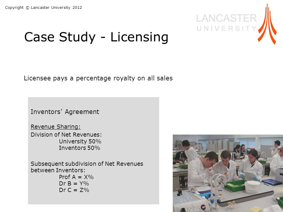 Copyright © Lancaster University 2012 LANCASTER U N I V E R S I T Y Case Study - Licensing Inventors' Agreement Revenue Sharing: Division of Net Revenues: University 50% Inventors 50% Subsequent subdivision of Net Revenues between Inventors: Prof A = X% Dr B = Y% Dr C = Z% Licensee pays a percentage royalty on all sales