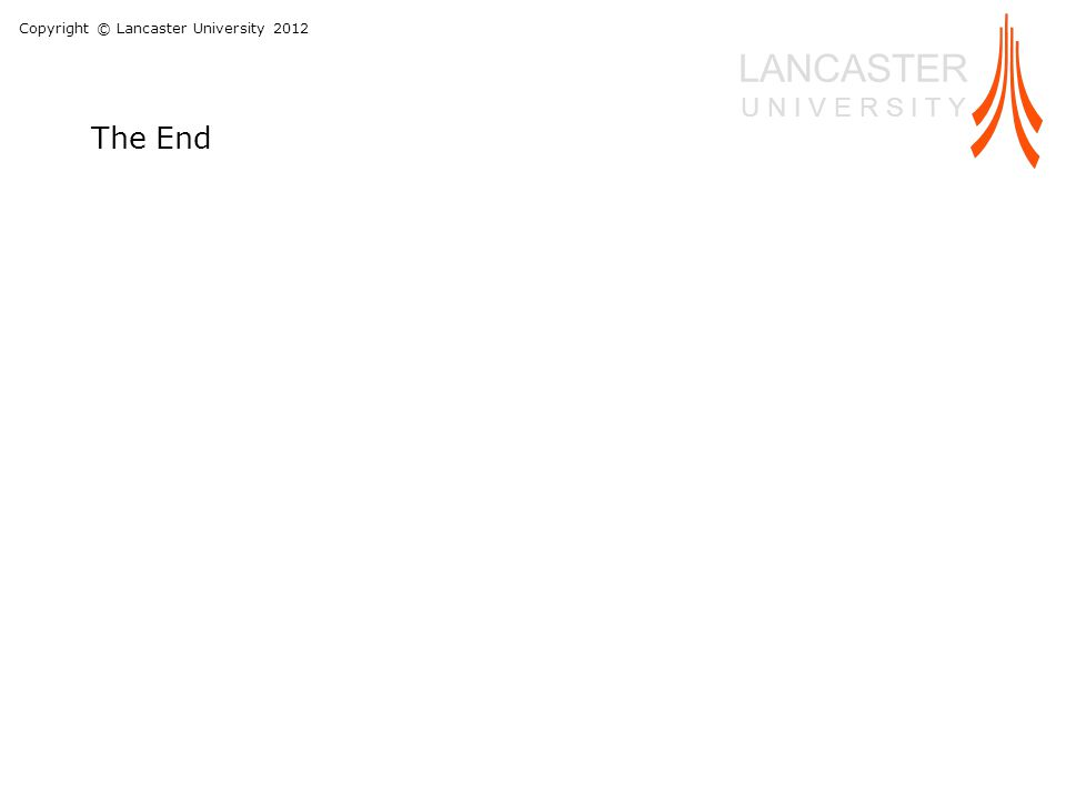 Copyright © Lancaster University 2012 LANCASTER U N I V E R S I T Y The End