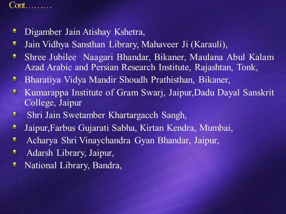 Digamber Jain Atishay Kshetra, Jain Vidhya Sansthan Library, Mahaveer Ji (Karauli), Shree Jubilee Naagari Bhandar, Bikaner, Maulana Abul Kalam Azad Ar