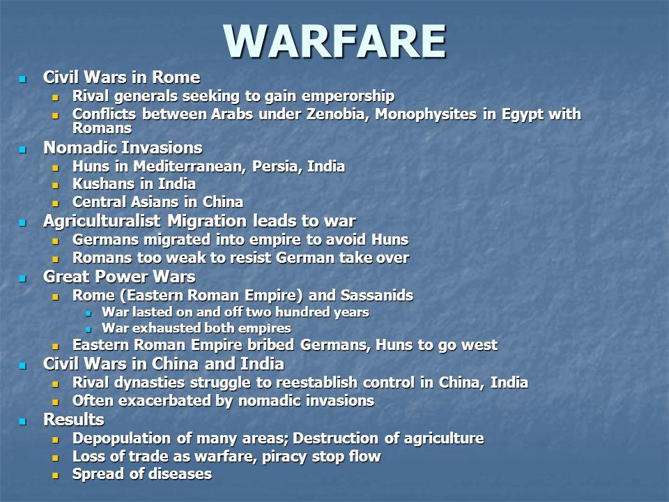 WARFARE Civil Wars in Rome Civil Wars in Rome Rival generals seeking to gain emperorship Rival generals seeking to gain emperorship Conflicts between