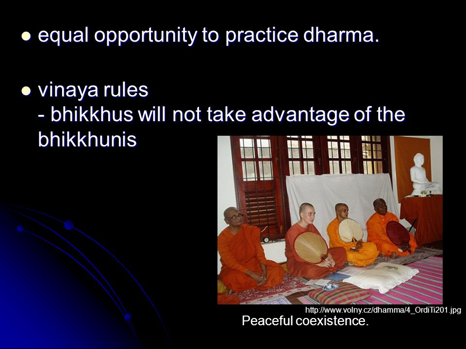 equal opportunity to practice dharma. equal opportunity to practice dharma. vinaya rules - bhikkhus will not take advantage of the bhikkhunis vinaya r