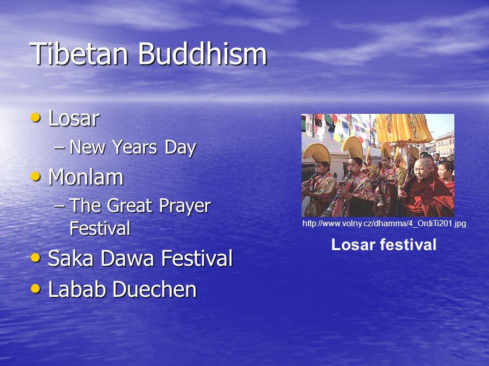 Tibetan Buddhism Losar Losar –New Years Day Monlam Monlam –The Great Prayer Festival Saka Dawa Festival Saka Dawa Festival Labab Duechen Labab Duechen Losar festival http://www.volny.cz/dhamma/4_OrdiTi201.jpg