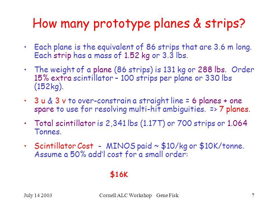 July 14 2003Cornell ALC Workshop Gene Fisk7 How many prototype planes & strips.