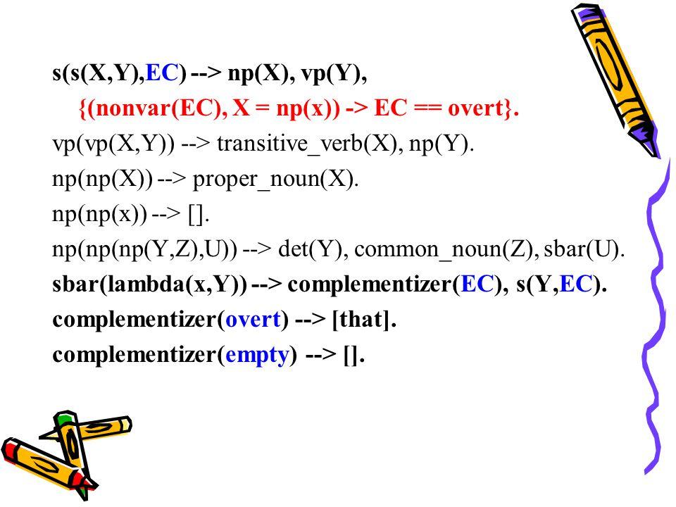 s(s(X,Y),EC) --> np(X), vp(Y), {(nonvar(EC), X = np(x)) -> EC == overt}.