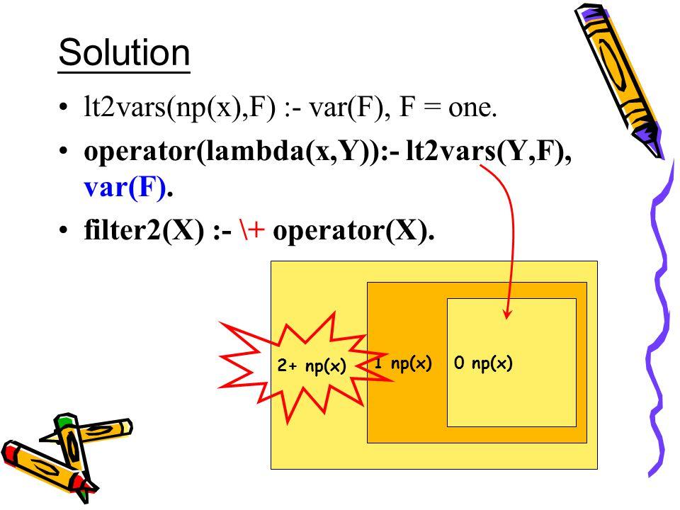 Solution lt2vars(np(x),F) :- var(F), F = one. operator(lambda(x,Y)):- lt2vars(Y,F), var(F).