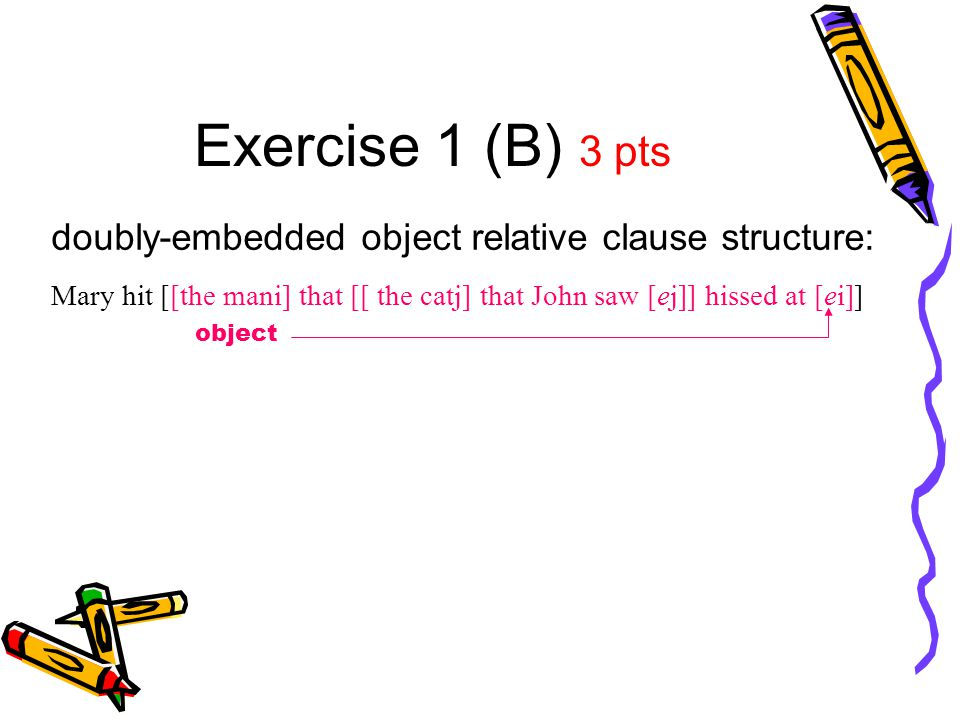 Exercise 1 (B) 3 pts doubly-embedded object relative clause structure: Mary hit [[the mani] that [[ the catj] that John saw [ej]] hissed at [ei]] obje
