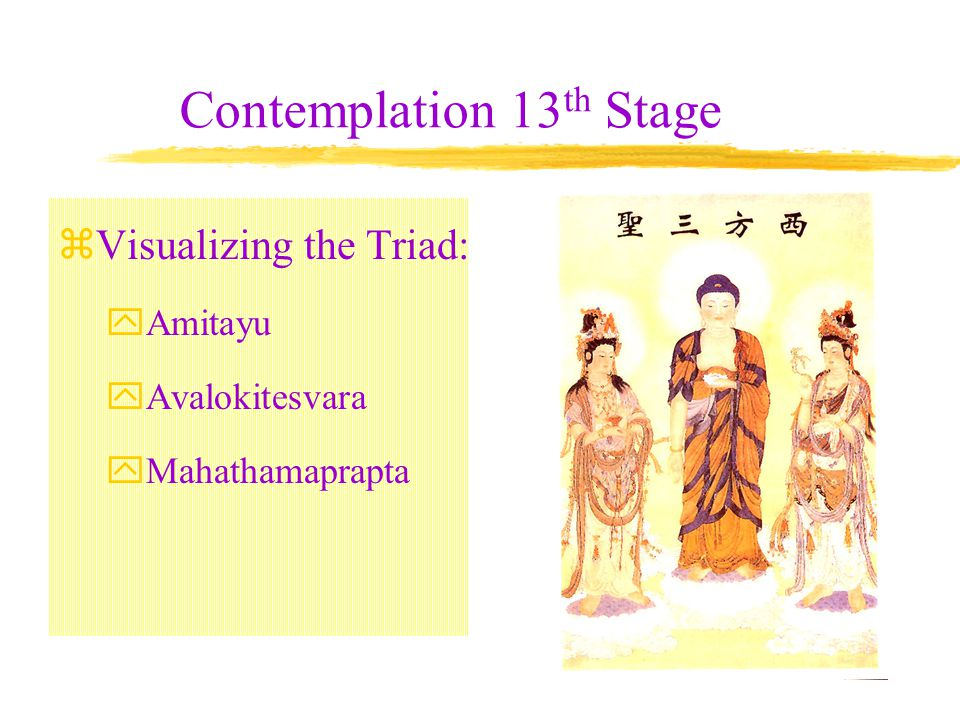 Contemplation 12 th stage Visualizing yourself (aspirant) as born in the Land of Utmost Bliss