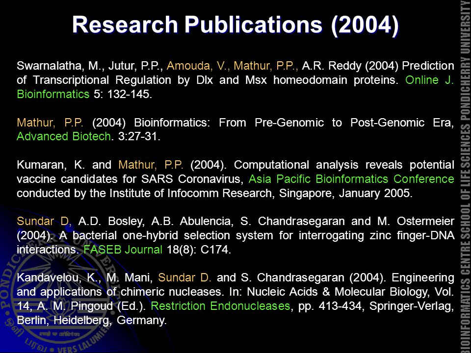 Research Publications (2004) Swarnalatha, M., Jutur, P.P., Amouda, V., Mathur, P.P., A.R. Reddy (2004) Prediction of Transcriptional Regulation by Dlx