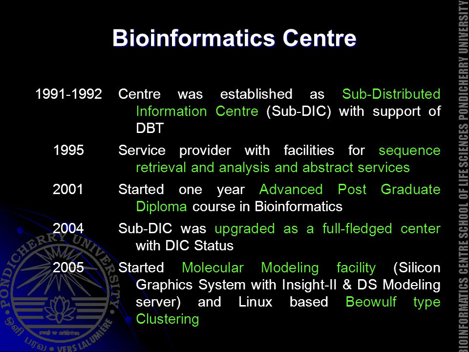 Bioinformatics Centre 1991-1992Centre was established as Sub-Distributed Information Centre (Sub-DIC) with support of DBT 1995Service provider with fa