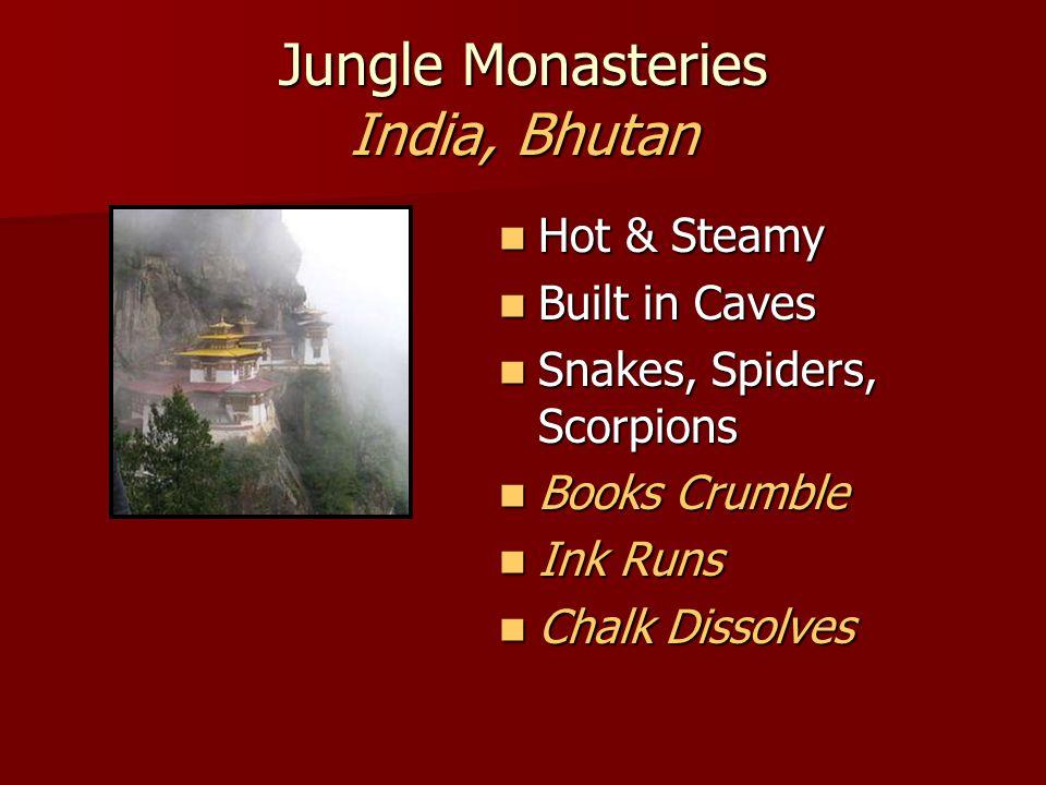 Jungle Monasteries India, Bhutan Hot & Steamy Hot & Steamy Built in Caves Built in Caves Snakes, Spiders, Scorpions Snakes, Spiders, Scorpions Books Crumble Books Crumble Ink Runs Ink Runs Chalk Dissolves Chalk Dissolves
