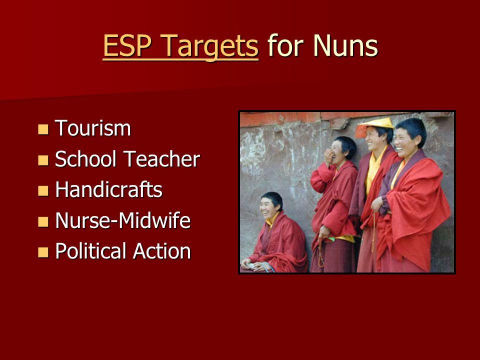 ESP Targets for Nuns Tourism Tourism School Teacher School Teacher Handicrafts Handicrafts Nurse-Midwife Nurse-Midwife Political Action Political Action
