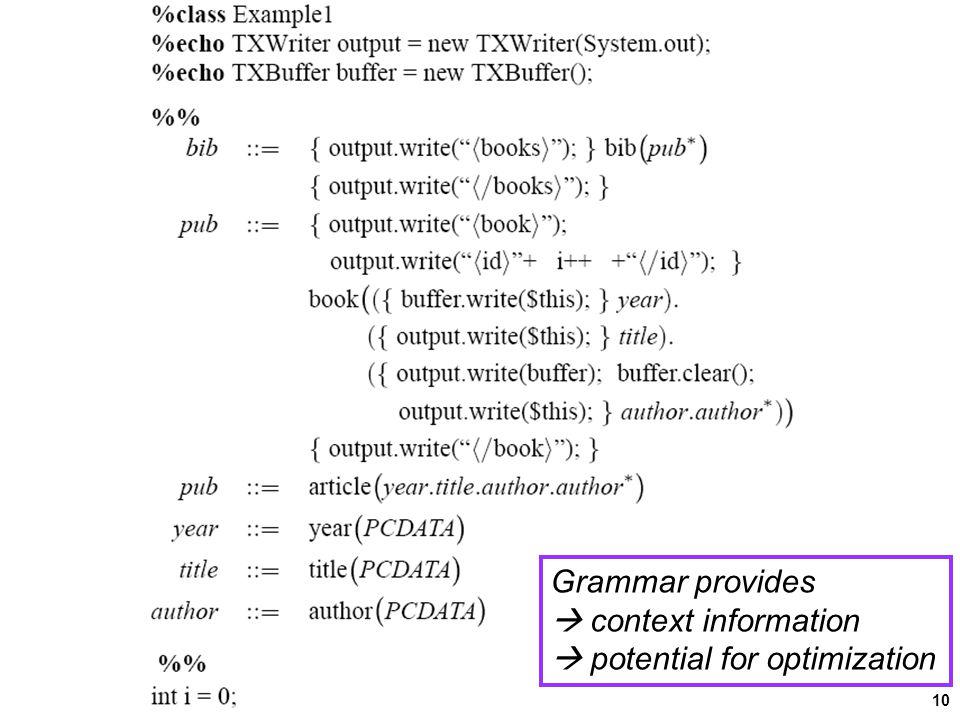 10 Grammar provides  context information  potential for optimization