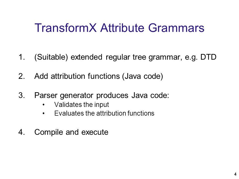 4 TransformX Attribute Grammars 1.(Suitable) extended regular tree grammar, e.g.