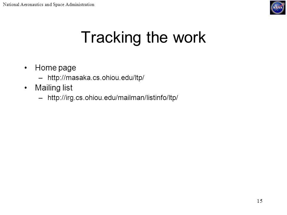 National Aeronautics and Space Administration 15 Tracking the work Home page –http://masaka.cs.ohiou.edu/ltp/ Mailing list –http://irg.cs.ohiou.edu/mailman/listinfo/ltp/