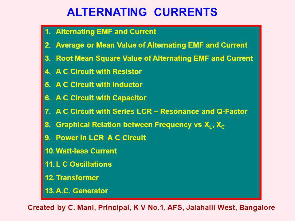ALTERNATING CURRENTS 1.Alternating EMF and Current 2.Average or Mean Value of Alternating EMF and Current 3.Root Mean Square Value of Alternating EMF
