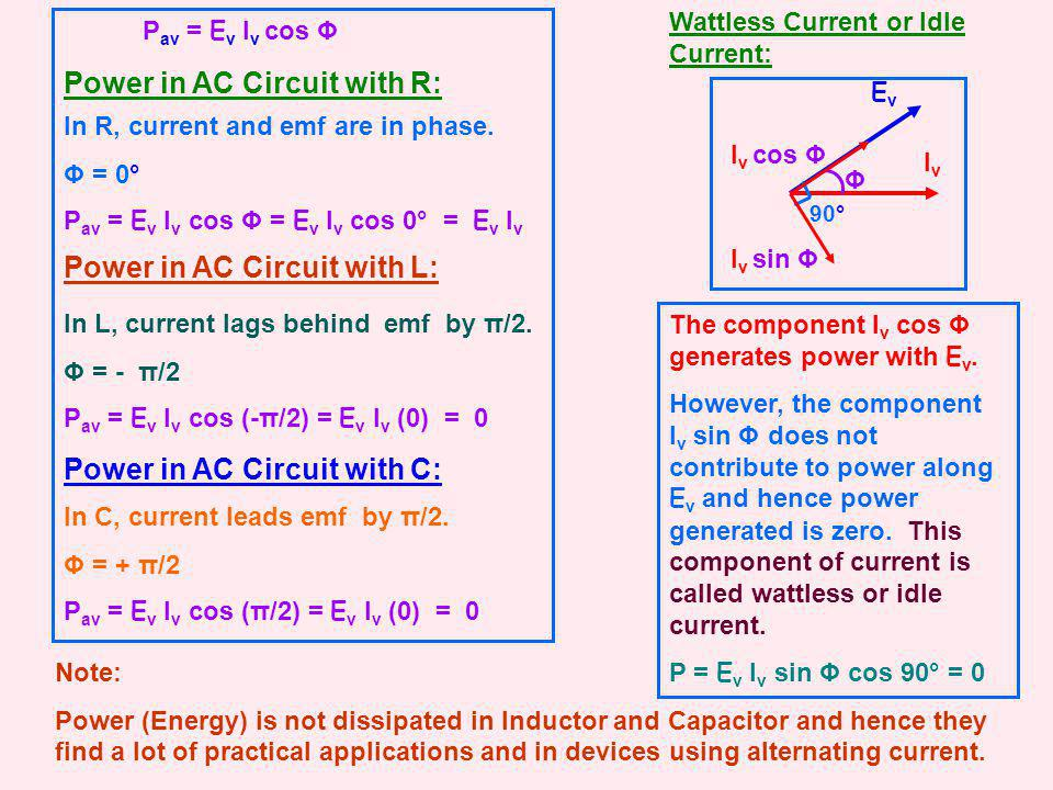 EvEv Power in AC Circuit with R: In R, current and emf are in phase. Φ = 0° P av = E v I v cos Φ = E v I v cos 0° = E v I v Power in AC Circuit with L