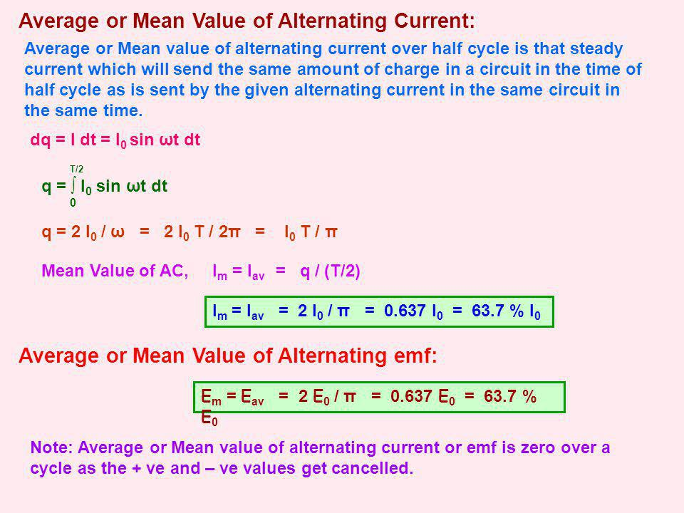 Average or Mean Value of Alternating Current: Average or Mean value of alternating current over half cycle is that steady current which will send the