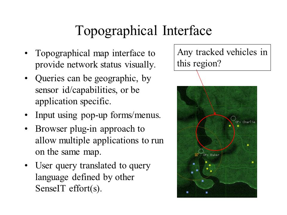 Topographical Interface Topographical map interface to provide network status visually.